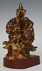 Early 20th C., Burmese Wooden Angel Riding on Garuda