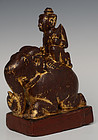 Early 20th C., Burmese Wooden Angel Riding on Elephant