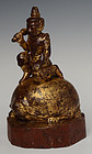 Early 20th C., Burmese Wooden Angel Riding on Turtle