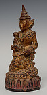 19th Century, Burmese Wooden Angel Riding on Snake