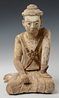 Early 19th Century, Burmese Wooden Seated Figure