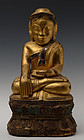 18th Century, Tai Yai Burmese Wooden Seated Buddha
