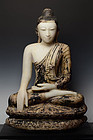Early 19th Century, Large Burmese Alabaster Seated Buddha