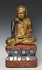 19th Century, Burmese Wooden Seated Buddha