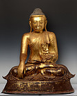 Late 19th C., Large Burmese Bronze Seated Buddha