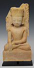18th Century, Burmese Limestone Seated Crowned Buddha