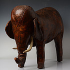 Early 20th C., French Leather Elephant Foot Stool