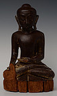 17th C., Shan, Burmese Wooden Seated Buddha