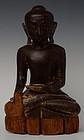 17th C., Shan, Burmese Wooden Seated Buddha