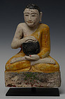 17th C., Shan, Burmese Soapstone Seated Disciple Holding Bowl