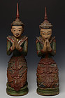 Early 19th C., A Pair of Burmese Wooden Seated Angels
