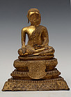 19th C., Thai Bronze Seated Disciple with Gilded Gold