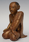 19th Century, Burmese Wooden Seated Disciple