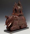 19th C., Burmese Wooden Elephant with The Chair on Top