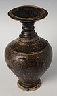 Khmer Vase with Long Neck and Carved Decoration