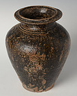 12th C., Bayon, Khmer Vase with Carved Decoration