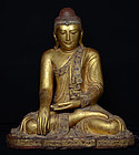 19th C, Mandalay, Large Burmese Wooden Seated Buddha