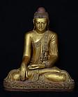 19th C, Mandalay, Large Burmese Wooden Seated Buddha
