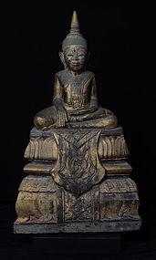 17th C., RARE Khmer Sandstone Seated Buddha