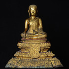 19th Century, Thai Bronze Seated Monk with Gilded Gold