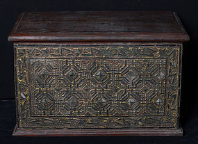 19th C., Mandalay, Burmese Wooden Chest with Glass
