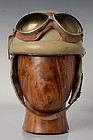French Leather Motorcycle Helmet with Sunglasses