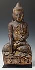 19 Century, Mandalay, Burmese Wooden Seated Buddha