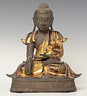 19th C., Mandalay, Burmese Bronze Seated Buddha