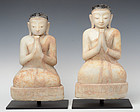 16th C., Shan, A Pair of Burmese Alabaster Seated Disciples