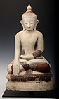 17th C., Shan, Burmese Alabaster Seated Buddha