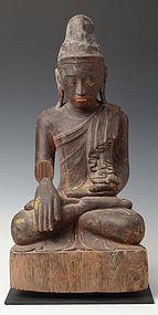 19th C., Mandalay, Burmese Wooden Seated Buddha