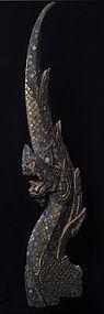 19th C., Rattanakosin, Thai Wooden Finial (Naga)