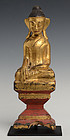 19th C., Burmese Tai Lue Wooden Seated Buddha