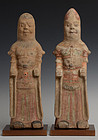 Tang Dynasty, A Pair of Chinese Painted Pottery Civil Officers