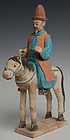 Ming Dynasty, Chinese Painted Pottery Horse and Rider with Oxford Test