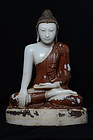 Early Mandalay, Burmese Alabaster Seated Buddha