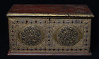 19th C., Burmese Wooden Chest with Gilded Gold and Glass