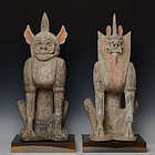 Tang Dynasty, A Pair of Chinese Pottery Earth Spirits with Oxford Test