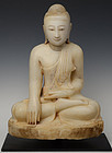 19th C., Mandalay, Burmese Alabaster Seated Buddha