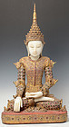RARE Burmese Wooden and Alabaster Seated Crowned Buddha