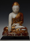 19th C., Mandalay, Burmese Alabaster Seated Buddha