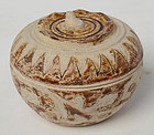 14th - 16th C., Sukhothai Stoneware Covered Bowl in The Pumpkin Shape