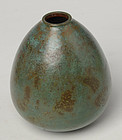 Early 20th C., Showa, Japanese Bronze Vase with Greenish Patina