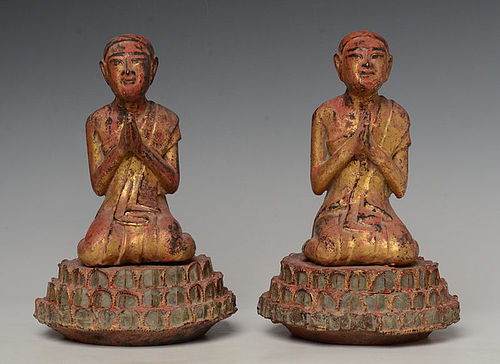 18th C., Shan, A Pair of Burmese Wooden Seated Disciples