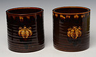 Mid-20th C., Showa, A Pair of Japanese Ceramic Hibachi Vessels