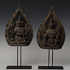 19th C., Mandalay, A Pair of Burmese Wooden Seated Angels