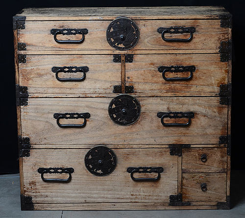 Late 19th C., Meiji, Japanese Wooden Clothing Chest (Sendai-Tansu)