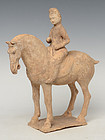 Tang Dynasty, Chinese Painted Pottery Horse and Rider
