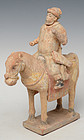 Ming Dynasty, Chinese Painted Pottery Horse and Rider
