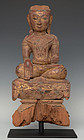 15th C., Ava, Burmese Wooden Seated Buddha